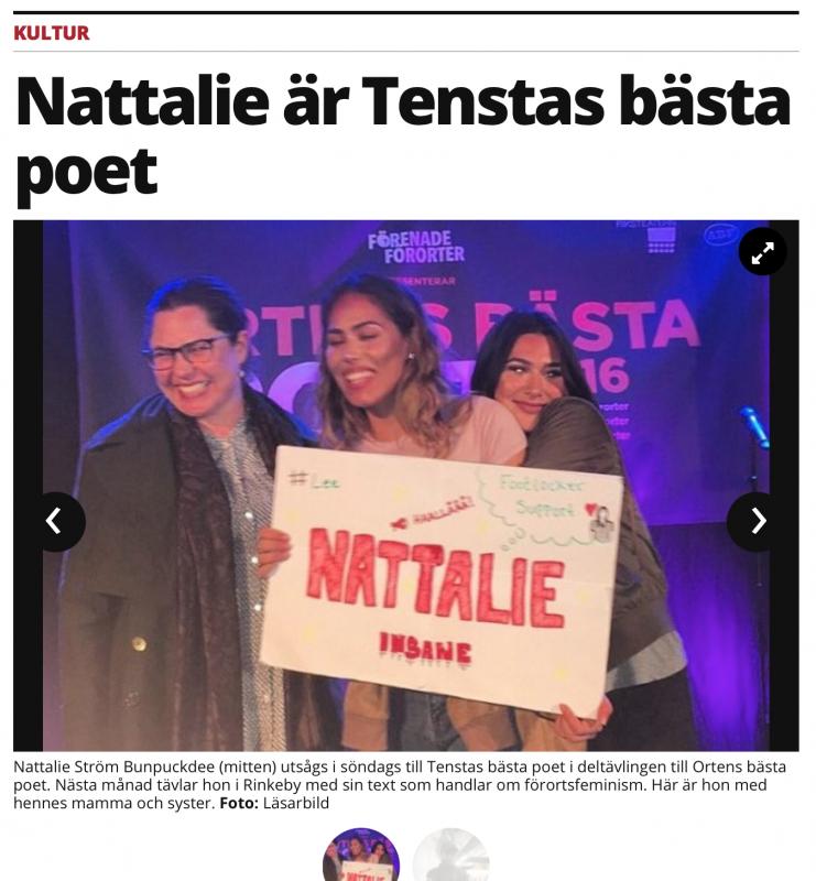 Artikel om  Nattalie Ström Bunpuckdee i Mitt i Stockholm