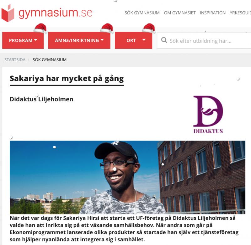 Artikel om Sakariya Hirsi på gymnasium.se